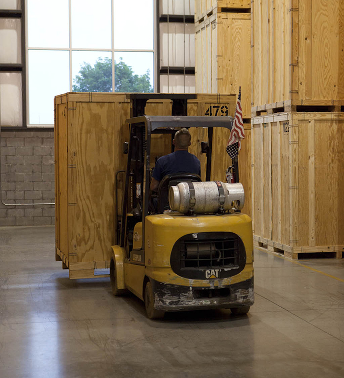 Forklift in Clean Warehouse